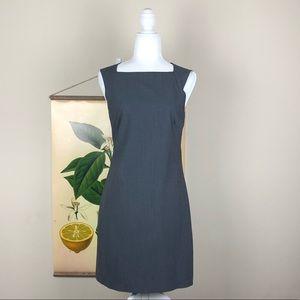 THEORY | Gray Striped Wool Blend Shift Dress Midi
